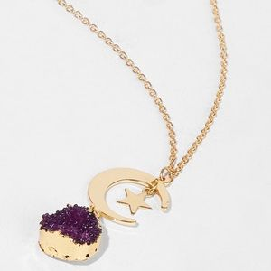 Gold Moon Star Necklace w/ Purple Druzy Charm NWT